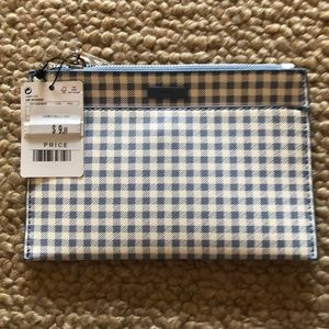 Mango blue and white checkered pouch